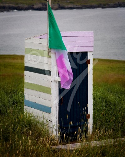 Outhouse with Newfoundland flag